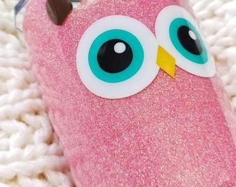 Kid's Owl Glitter Tumbler//Stainless Steel Tumbler//HOGG 8oz Tumbler//Glitter Dipped//Personalized Custom Animal Tumbler//Toddler Straw Cup