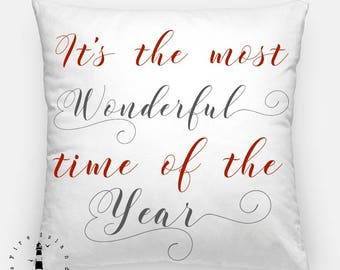 Winter Wonderland Pillow, It's the Most Wonderful Time of the Year Pillow, Farmhouse Christmas Pillow, Christmas Decor, Winter Decor Pillow