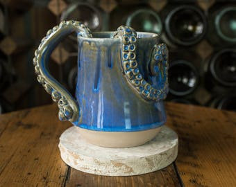 Handmade Ceramic Tentacle Handle Mug