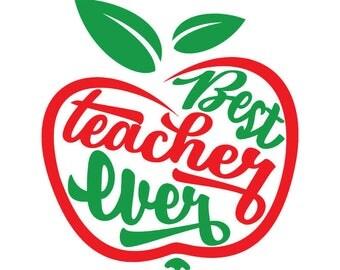 Teacher Vinyl Decal, Teacher Gift, Apple Decal, Best Teacher Ever, Graduation Gift, Graduation Decal, Teacher Appreciation