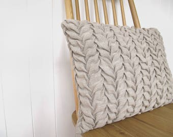 hand smocked natural linen cushion