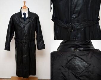 Leather Trench Coat mens size 25 / L Black Belt