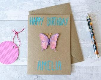 Butterfly Custom Name Birthday Card