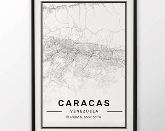 Caracas City Map Print, Modern Contemporary poster in sizes 50x70 fit for Ikea frame 19.5 x 27.5 All city available London, New York Paris