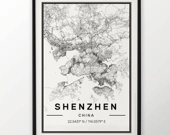 Shenzhen City Map Print Modern Contemporary poster in sizes 50x70 fit for Ikea frame 19.5 x 27.5 All city available London New York Paris