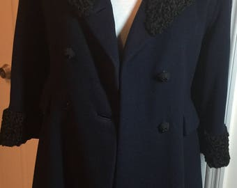 Gorgeous Vintage Navy Wool Coat
