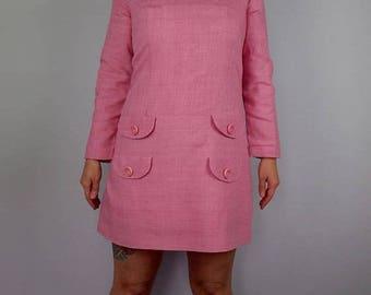 FLASH SALE Bubblegum Pink Mod Mini Dress - 1960s Babydoll Dress
