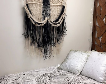 Black and Cream Macrame wall hanging.