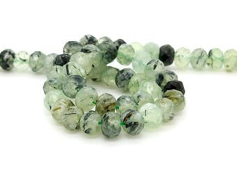 "Natural Prehnite Green Faceted Rondelle 6mm x 8mm Loose Bead - Full 15.5"" Strand"