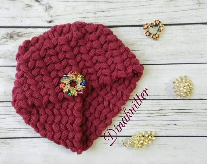 Turban.knitted turban.knitted cap.winter turban.head wrap turban.wool turban.women's hat.womens red hat.headband.winter hat.knit turban hat