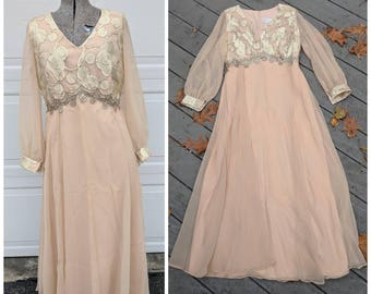 GORGEOUS 60s/70's Vintage Pale Pink A-Line Dress w Sheer Sleeves & Overlay