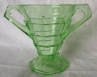 Indiana Glass Tea Room Uranium Green Sugar Bowl