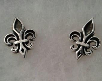 Fleur De Lis Earrings, Solid Sterling Silver Fleur De Lis Stud Earrings, French Earrings