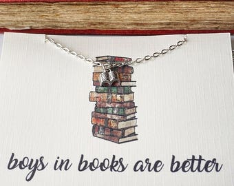 Boys in Books are Better, Book Lover Gift, Book Charm Necklace, Book Boyfriend Gift