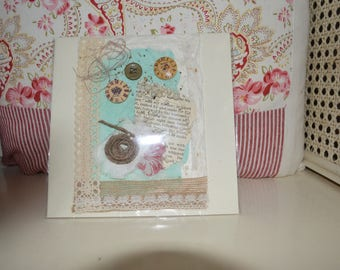 Hand made lace bead and feather blank greetings card wedding christening occasion vintage shabby boho
