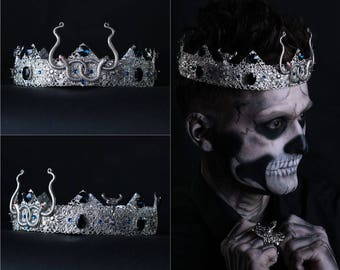 SNAKE CROWN Male Crown, Medusa Crown, Snake Silver Tiara Snake Crown Tiara Silver Crown Costume Crown Gothic Crown Evil Witch Crown Tiara