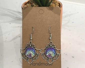 Purple Mermaid Scales Antique Silver Hook/Dangly Earrings