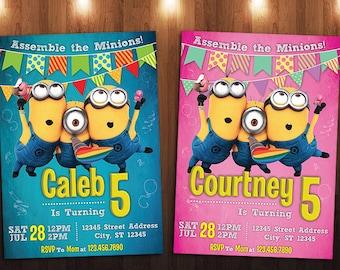 Minions Birthday Invitation, Despicable Me Invitation, Boy Invitation, Girl Invitation Custom Personalized Printable Digital Invite