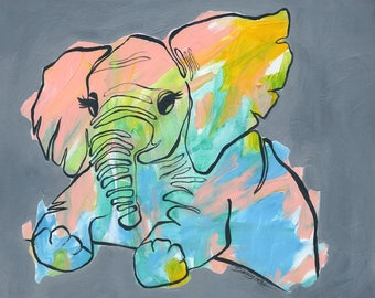Elephant art, giclee print, colorful animal painting, contour line, nursery decor with flair, fun children art, baby gift, baby elephant art