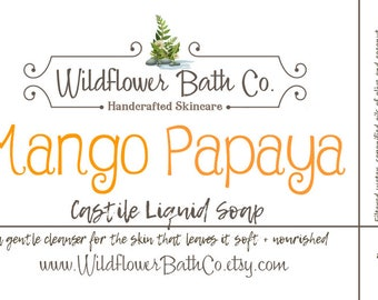 Mango Papaya | Castile Liquid Soap | Olive Oil Castile Soap | Natural Liquid Soap | Liquid Soap | Castile Soap | Fruity Castile Soap