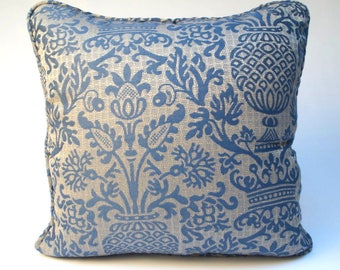 Fortuny-like fabric decorative pillow cover 18x18