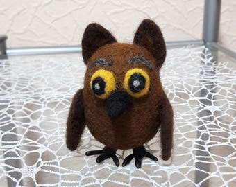 Owl, Brown owlet, Wool toy, Miniature owl, Bird toy, Handmade toys, Birthday gift, Home decor, Gift for kids