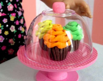 American Girl Food Cupcakes for 18 Inch Dolls, Bakery Display Stand for Doll Tea, Doll Party, Doll Bakery Display, AG Food Accessories