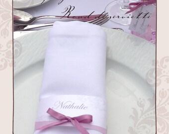 Bandeau Marque place rond de serviette personnalisé mariage, baptême
