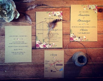 Bohemian flower invitation