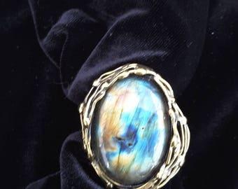 Brass ring with labradorite