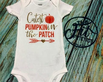 Cutest Pumpkin in the Patch Fall Halloween Bodysuit One Piece Baby Romper Creeper Newborn Baby Girls Baby Shower Gift