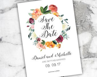 Save the Date - Floral Invitations - Wedding Invitation - Wedding Card - Printable Wedding Invitations - Floral Save the Date