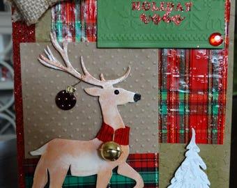 Plaid Christmas Deer Card