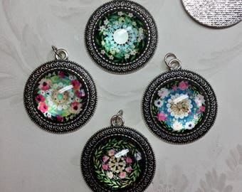 """1 3/8"""" Pendants in Antique Silver Bezel with Floral Design Under Glass"""