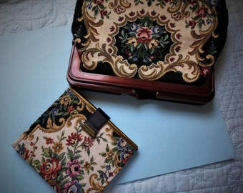 Vintage 1960s Tapestry Clutch Purse with Matching Wallet Stunning A touch of old world charm.