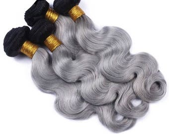 brazilian ombre hair extension 1B grey (1 bundle only)