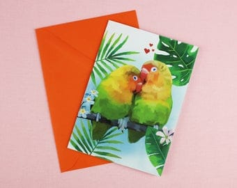 Love Birds Card / Card for Wife / Wedding Card / Engagement Card / Card for her / Love Card / Lovebirds / Congratulations card / Illustrated