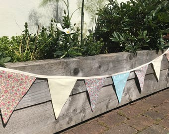 shabby chic bunting, yellow bunting, floral bunting, free shipping