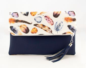 Feather And Egg Fold Over Vegan Leather Clutch. Navy Faux Leather. Fashion Purse. Purses. Everyday Purse. Medium Purses. Vegan Leather.