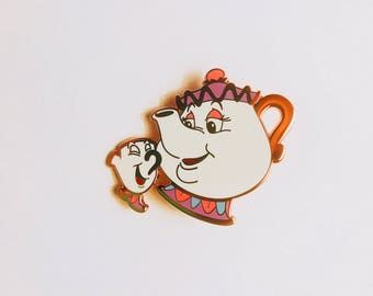Disney inspired Beauty and the Beast Mrs Potts and Chip Fantasy enamel pin