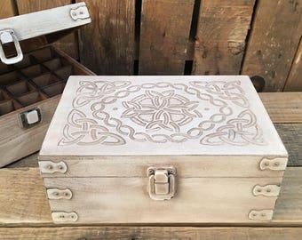 Antiqued White Celtic Design Wood Storage Box for 15ml Essential Oil Bottles