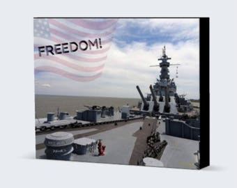 Freedom - USS Alabama 1942 Fine Art Photography, Canvas Gallery Wrap, Military Historical Art, Machinery Wall Decor, Home Decor