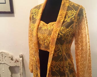 Vintage Yellow Lace, Brocade Top, Blouse