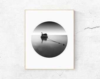 Minimalist Print, Black and White Print, Boat Print, Black and White Sea Print, Digital Download