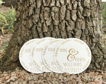 Sets of Personalized Save the Date Wedding Coasters Paperboard or Cork