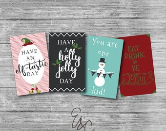 Christmas Lunch Box Notes - Instant Download - Printable Notes