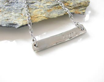 LOVE necklace - Pewter Bar - Stainless Steel Chain - Hand Stamped - Ready to Ship