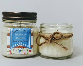 Organic soy candle,blueberry cobbler,soy candles,natural candles,rustic candles,8oz soy candle,scented soy candle,candles,gift,vegan candle