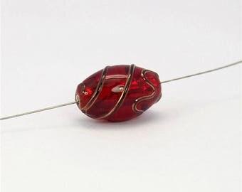 12x19mm Olive-shaped Czech Handmade Red Lampwork Glass Bead CB671