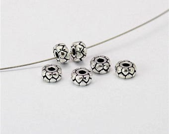 6 Beads Oxidized 925 Sterling Silver 2.5x5mm Spacer Beads F459